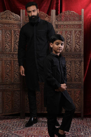 Contrast Collar Asymmetric Kurta & Pyjama Set For Father-Son