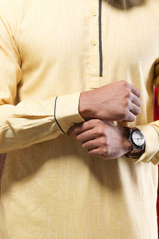 Pastel Yellow Kurta & Pyjama Set For Father-Son