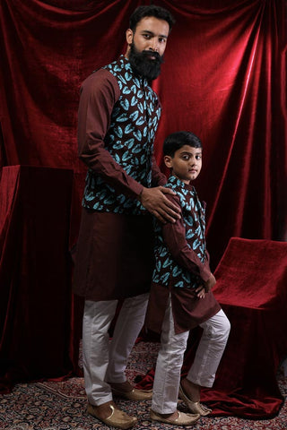 Tropical Print Bandi With Dark Brown Kurta Set For Father-Son