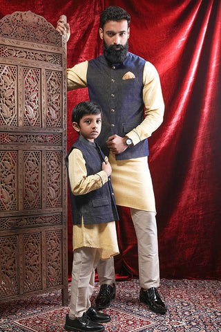 Corduroy Bandi With Kurta & Pyjama Set For Father-Son