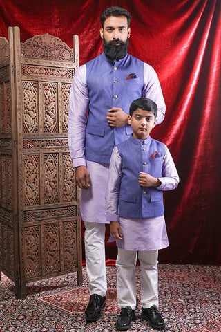 Dark Voilet Bandi With Light Purple Cotton Silk Kurta & Pyjama Set For Father-Son