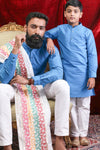 Aqua Blue Silk Kurta & Pyjama Set For Father-Son
