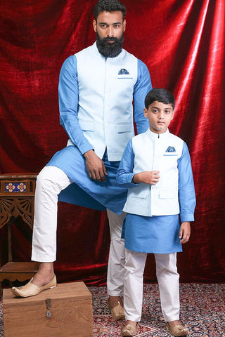 Aqua Blue Textured Bandi With Kurta & Pyjama Set For Father-Son