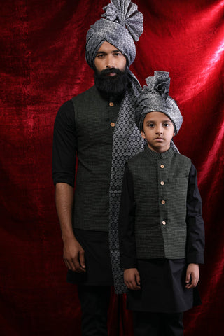 Textured Olive Green Bandi With Black Kurta & Pyjama Set For Father-Son