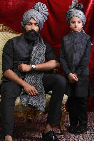 Textured Grey Bandi With Black Kurta & Pyjama Set For Father-Son