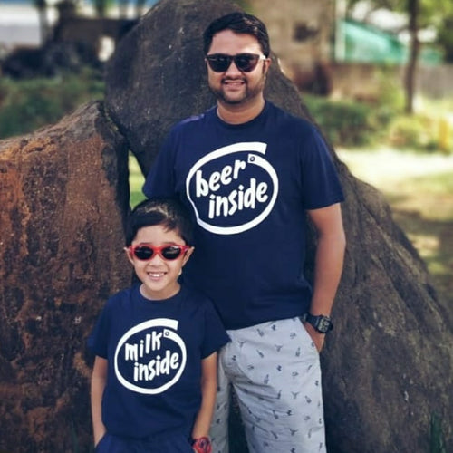 Navy Blue Beer Inside Father-Son Tees