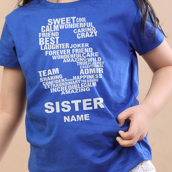 S For Sister, Personalised Tee For Sister