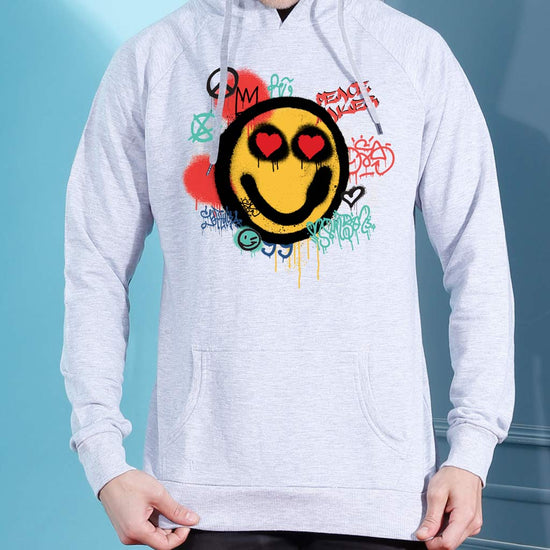 Smiley, Matching Grey Hoodie For Men And Crop Hoodie For Women