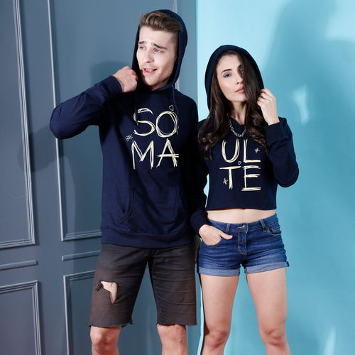 Soul Mate, Navy Blue Matching Hoodie And Crop Hoodie For Couples