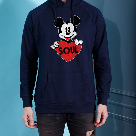 Soul Mate, Disney Navy Blue Hoodie For Men And Crop Hoodie For Women