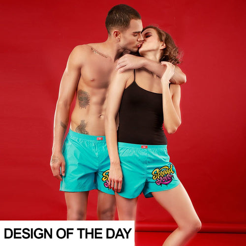 Spread Love, Matching (Turquoise) Couple Boxers