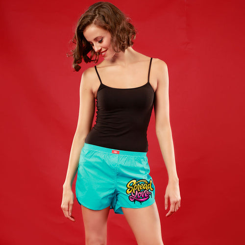 Spread Love, Matching (Turquoise) Couple Boxers For Women