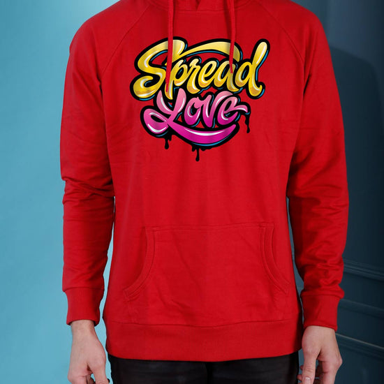 Spread Love, Matching Red Hoodie For Men And Crop Hoodie For Women