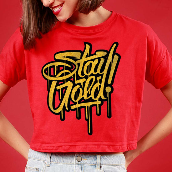 Stay Gold, Matching Couple Crop Top And Tee