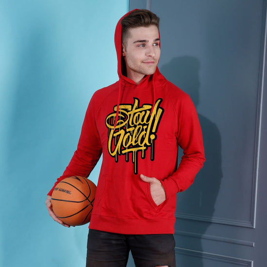 Stay Gold Red Hoodie For Men