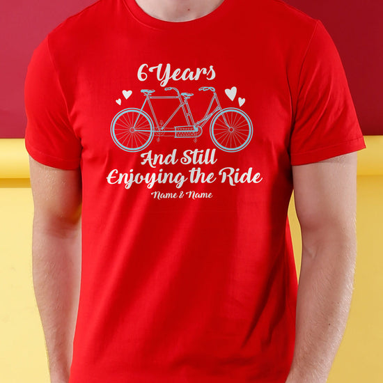 Still Enjoying The Ride, Matching Customisable Couples Valentine's Day Crop Top & Tee