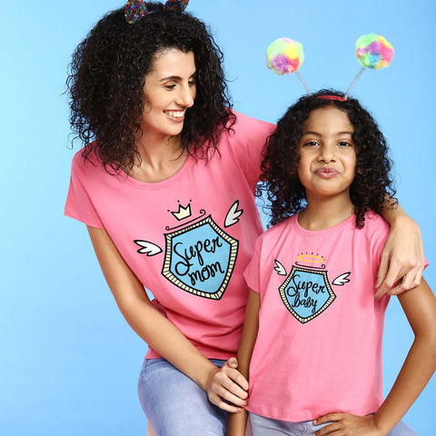 Super Mom Super Baby Tees