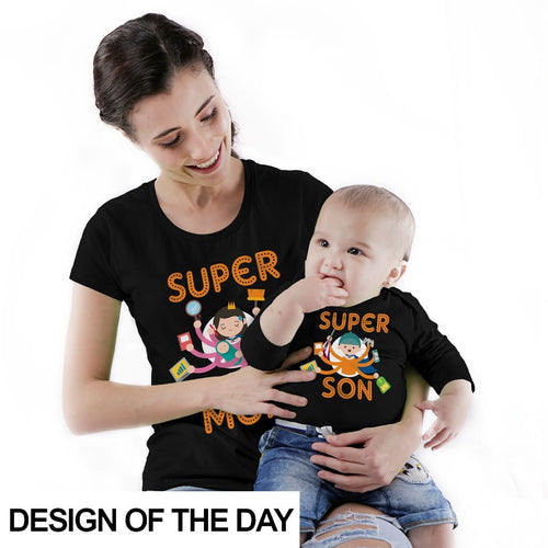 Super Mom/Super Son bodysuit and Tees