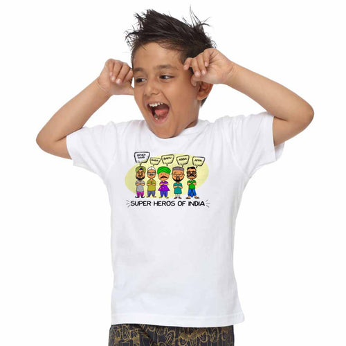Super heros of india dad & son tee For Son