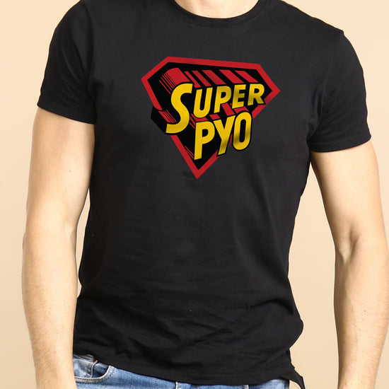Super Pyo/Putt, Matching Punjabi  Black Tees For Dad And Son