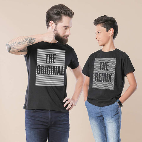 The original and re mix dad & son tees