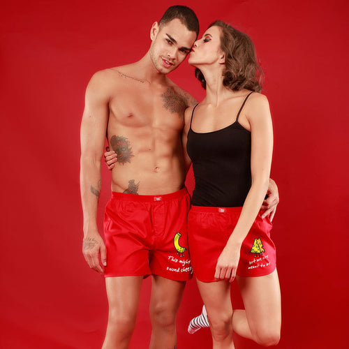 This Might Sound Chessy/ But We Are Meant To Be, Matching Red Couple Boxers