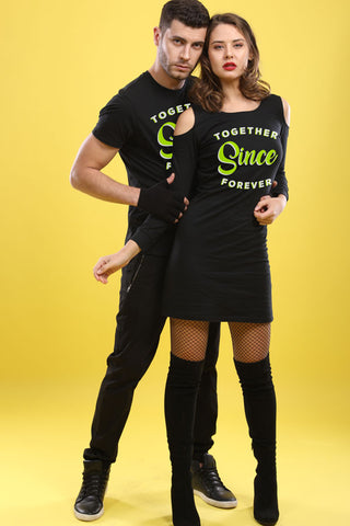 Together Now And Forever, Matching Tee And Cold Shoulder Dress For Him And Her