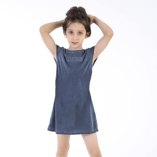 Somber Blue trending Shift Dress For Girl