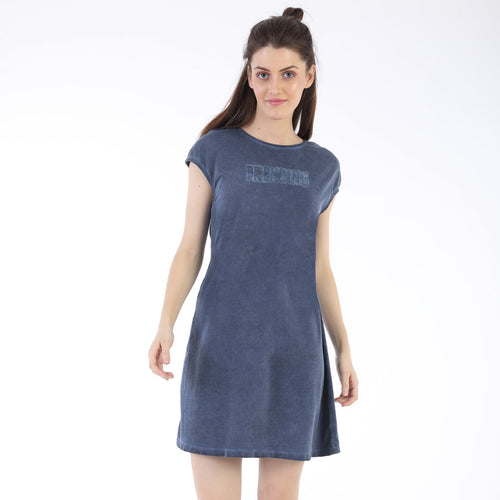 Somber Blue trending Shift Dress For Mom And Daughter