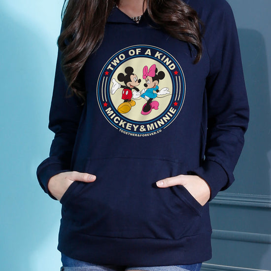 Two Of A Kind, Disney Navy Blue Matching Couple Hoodies