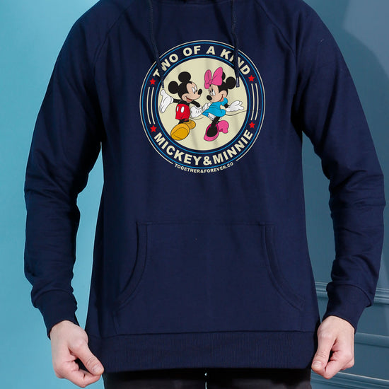 Two Of A Kind, Disney Navy Blue Hoodie For Men And Crop Hoodie For Women