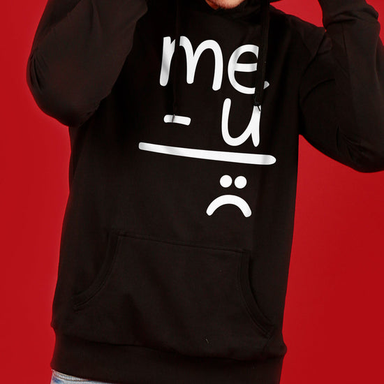 Me And U (Black) Matching Hoodie For Men And Crop Hoodie For Women