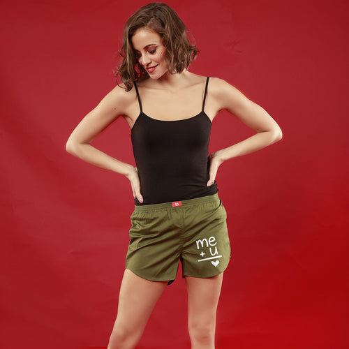 Me+U,  Matching Olive Green Couple Boxers For Women