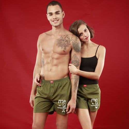 Me+U,  Matching Olive Green Couple Boxers