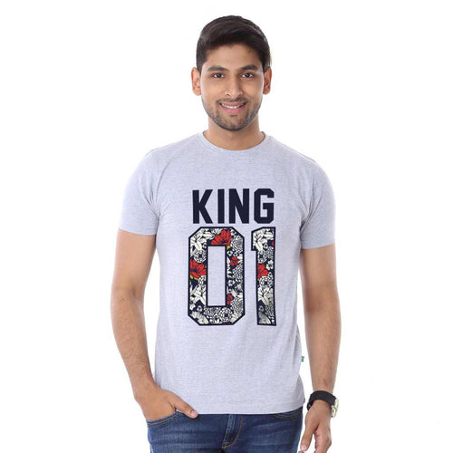 Grey Melange King And Lil King Dad And Son Tshirt