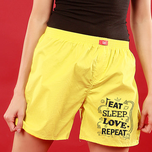 Eat Sleep Love Repeat, Matching Black Couple Boxers