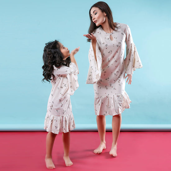 Blow Me Away Floral Bell Sleeves Matching Dresses For Mom And Daughter