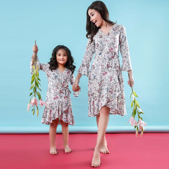 Floral Notes Wrap Around Matching Dresses For Mom And Daughter