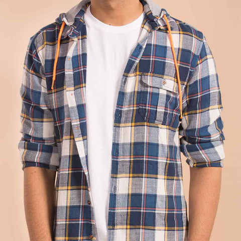 Multi Colour Checked Casual Shirt With Detachable Hood For Father And Son
