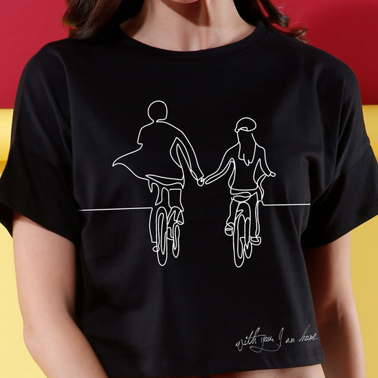 With You I Am Home, Matching Couples Crop Top & Tee