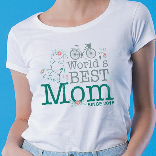 Worlds Best Mom (Cycle Print), Personalized Tee For Mom