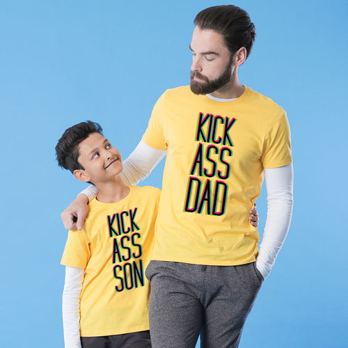 Yellow Kickass Dad And Son Tshirt