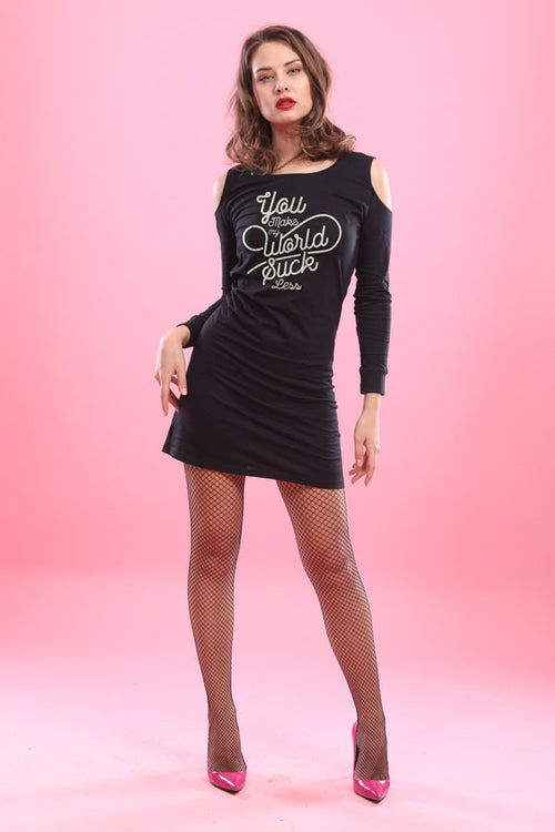 Better World, Matching Tee And Cold Shoulder Dress For Women