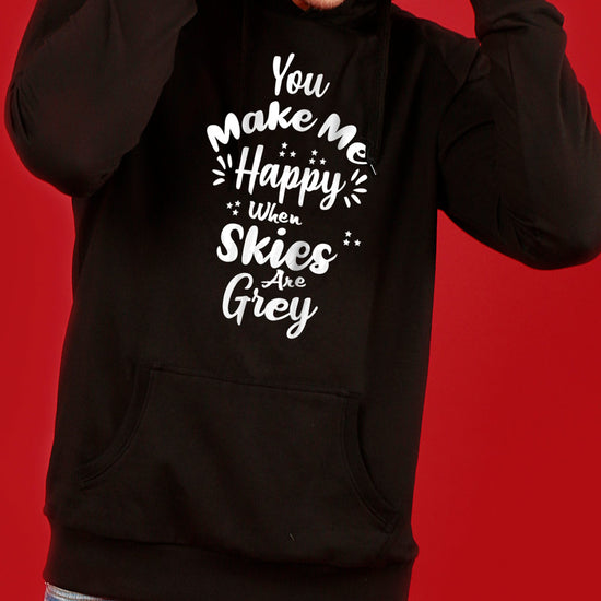 You Make Me Happy, Matching Black Hoodie For Men  And Crop Hoodie For Women
