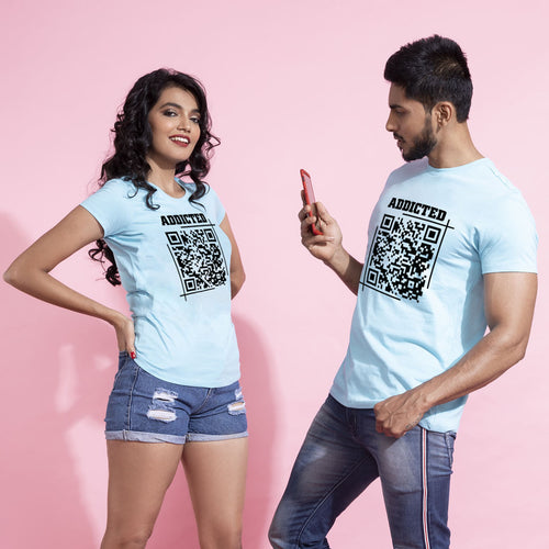 Addicted Matching Qr Code For Couple Tees