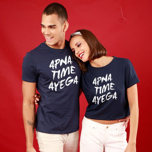 Apna Time Aayega Couple Crop Top And Tee