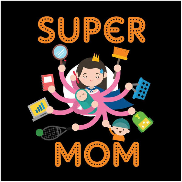 Mother & Baby Matching Tees - Super Mom/Super Son - Black ...