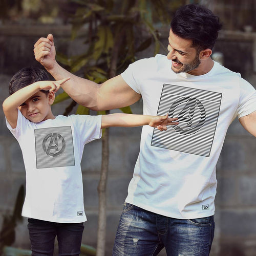 Avengers Stripes Symbol, Matching Marvel Tees For Dad And Son