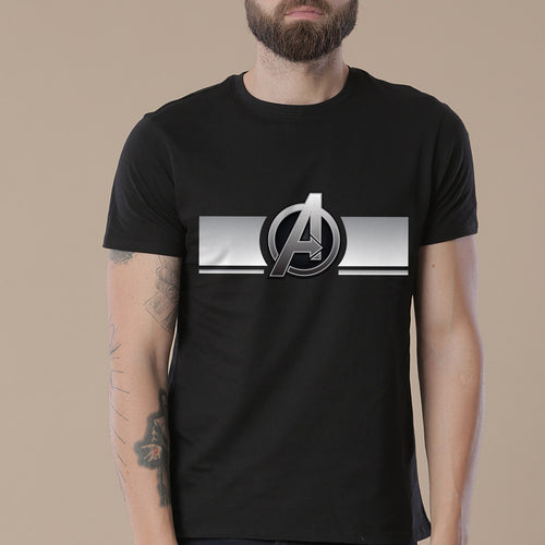 Avengers Crew, Matching Marvel Black Tees For Dad And Son