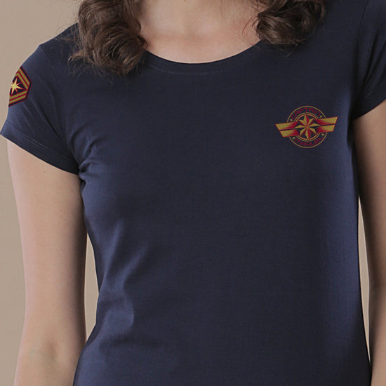 Captain Marvel, Mom And Daughter Matching Navy Blue Tees